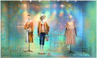 Mannequins in the summer shop window